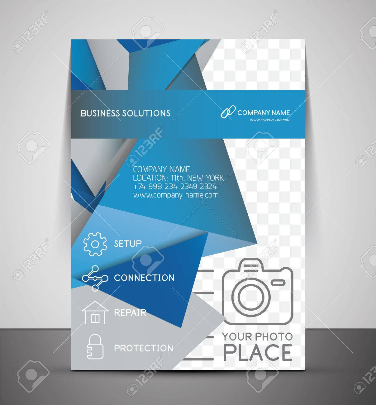 cmyk business corporate flyer template geometrical design cmyk business corporate flyer template geometrical design stock vector 27687320