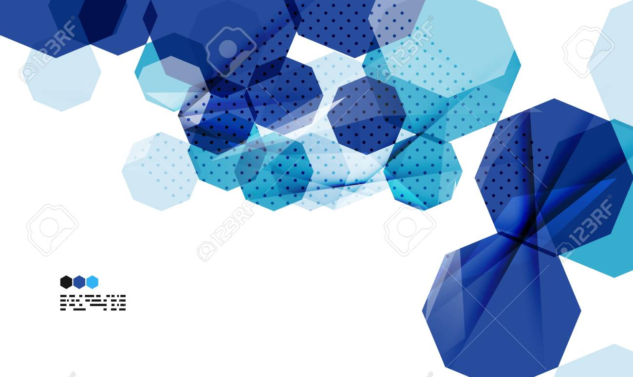 bright blue textured geometric shapes isolated on white - modern