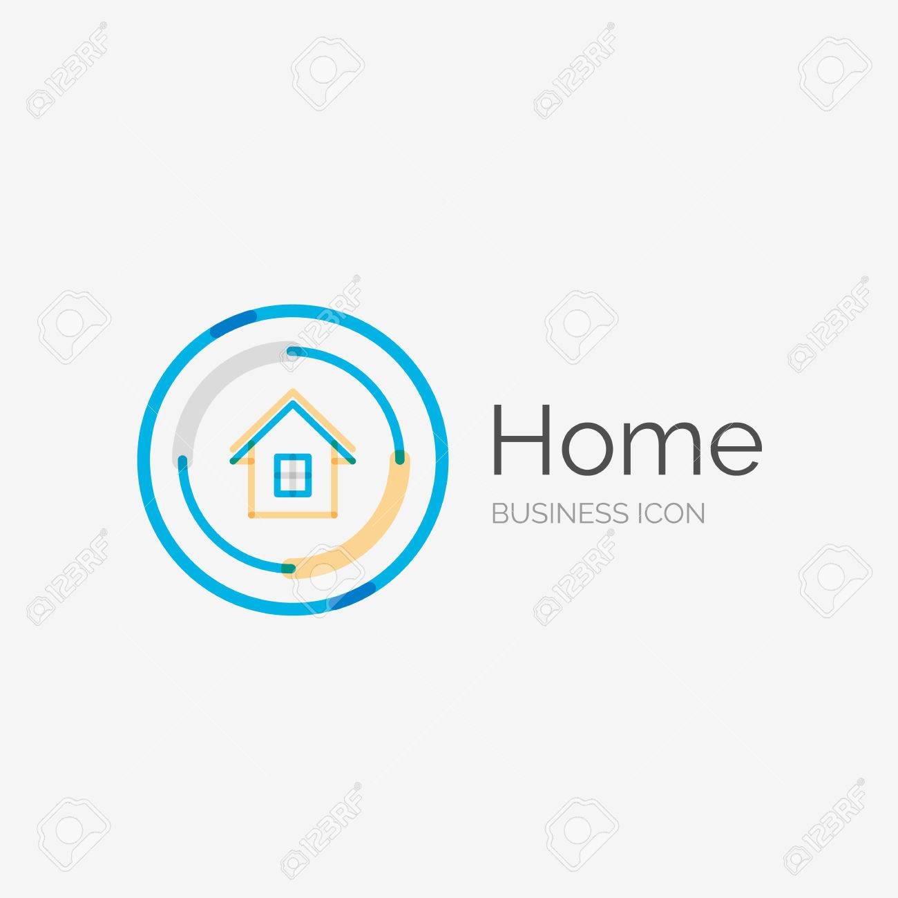 House design logo - Thin Line Neat Design Logo Clean Modern Concept Home House Idea Stock Vector