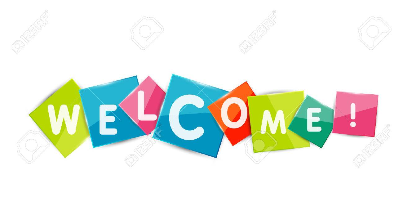 Welcome word on color square paper pieces, abstract banner or