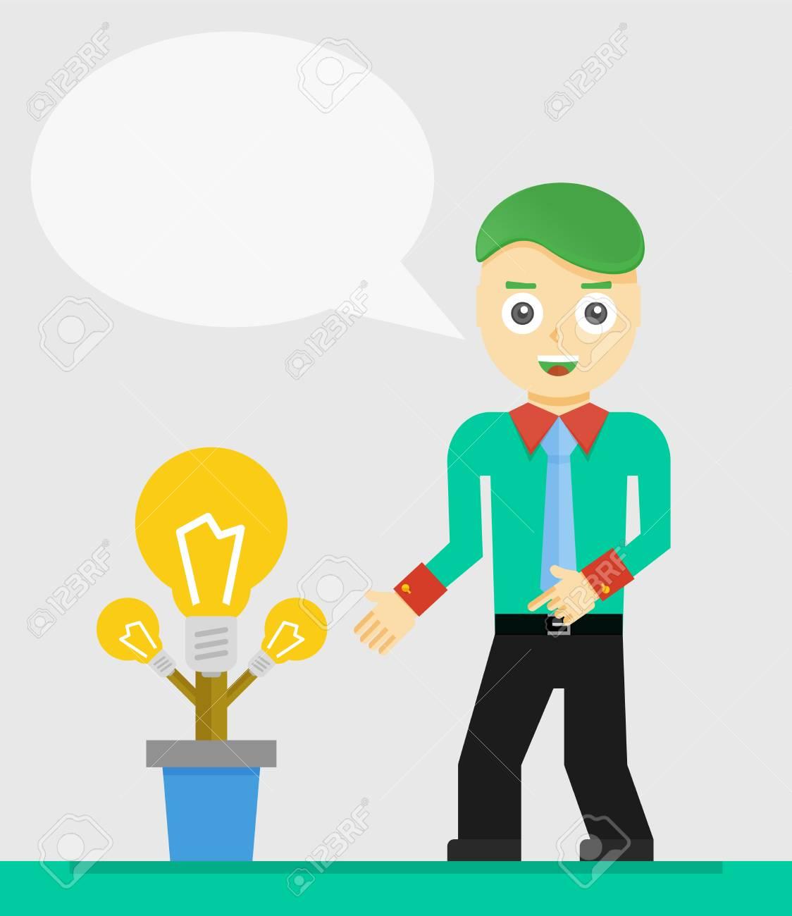 Junge Unternehmer Sprechen über Seine Neue Idee. Wachsende ...