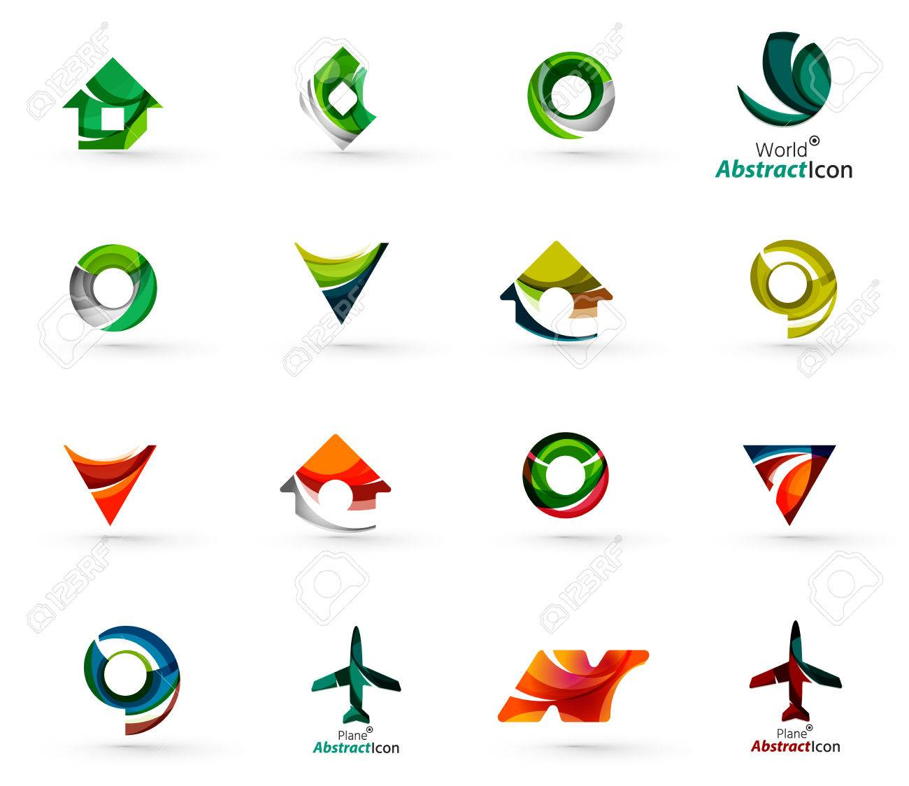 Set of various geometric icons - rectangles triangles squares or circles. Made of swirls and flowing wavy elements. Business, app, web design logo templates. - 44544388