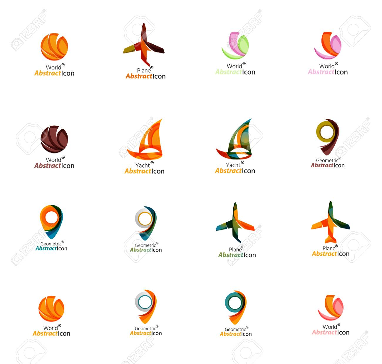 Set Of Abstract Travel Icons Business App Or Internet Web Symbols
