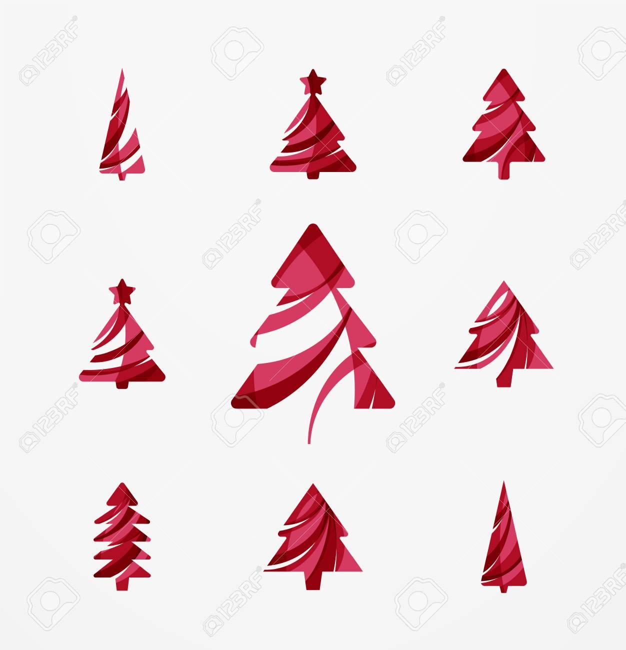 Christmas Tree Icons.Set Of Abstract Christmas Tree Icons Business Logo Concepts