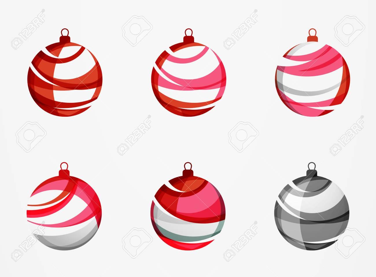 Ensemble D'icônes De Boule De Noël Abstraite, Concepts De Logo D