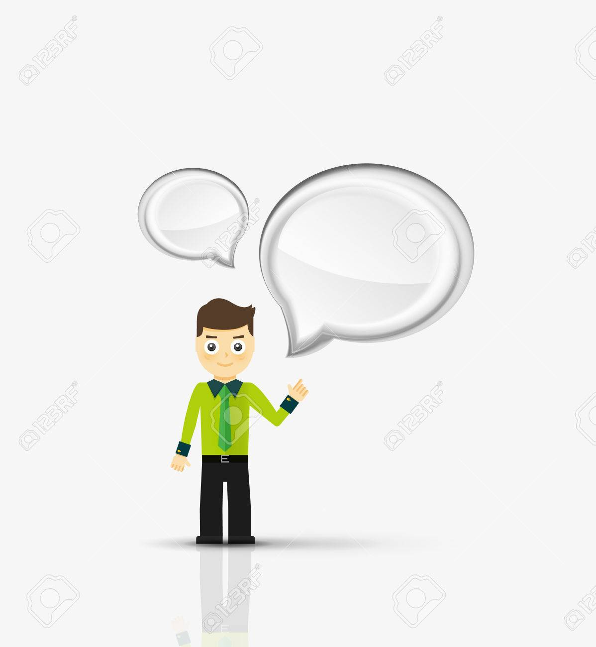 cartoon businessman with message cloud thinking or talking