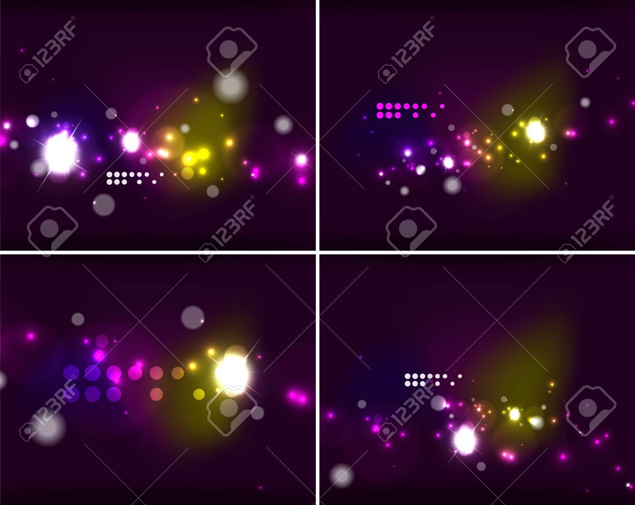 Set Of Abstract Backgrounds With Copyspace Glowing Color Neon Light In Dark Space Banner