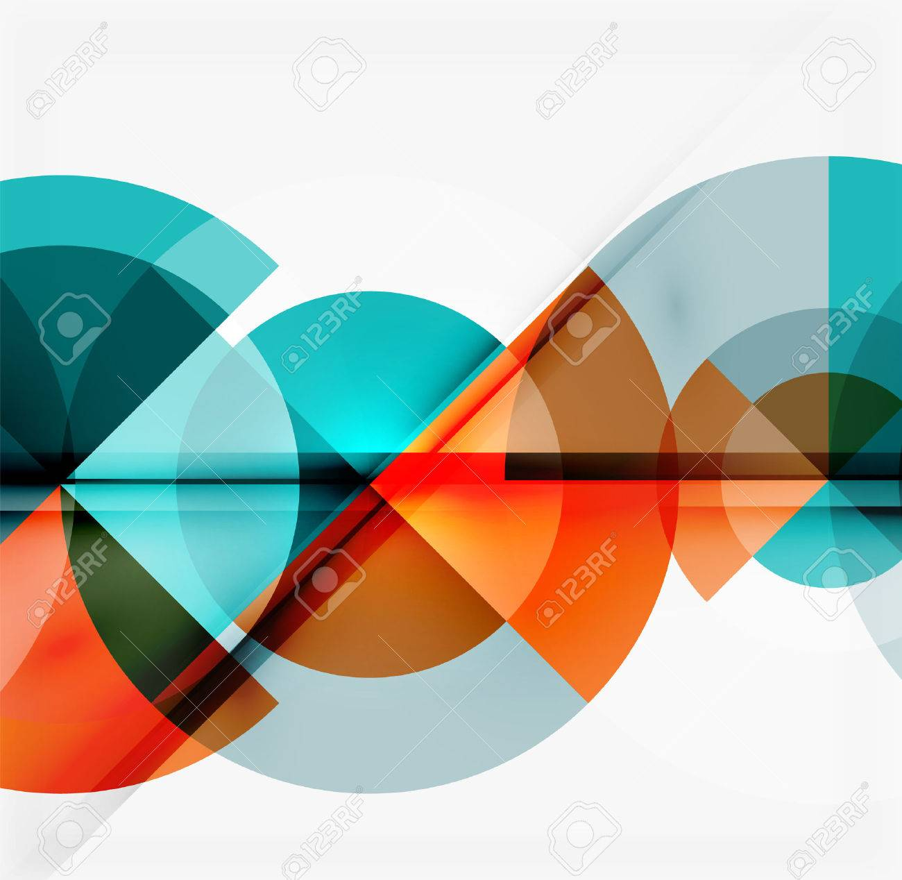 Geometric design abstract background - multicolored circles with shadow effects. Fresh business template - 51401376