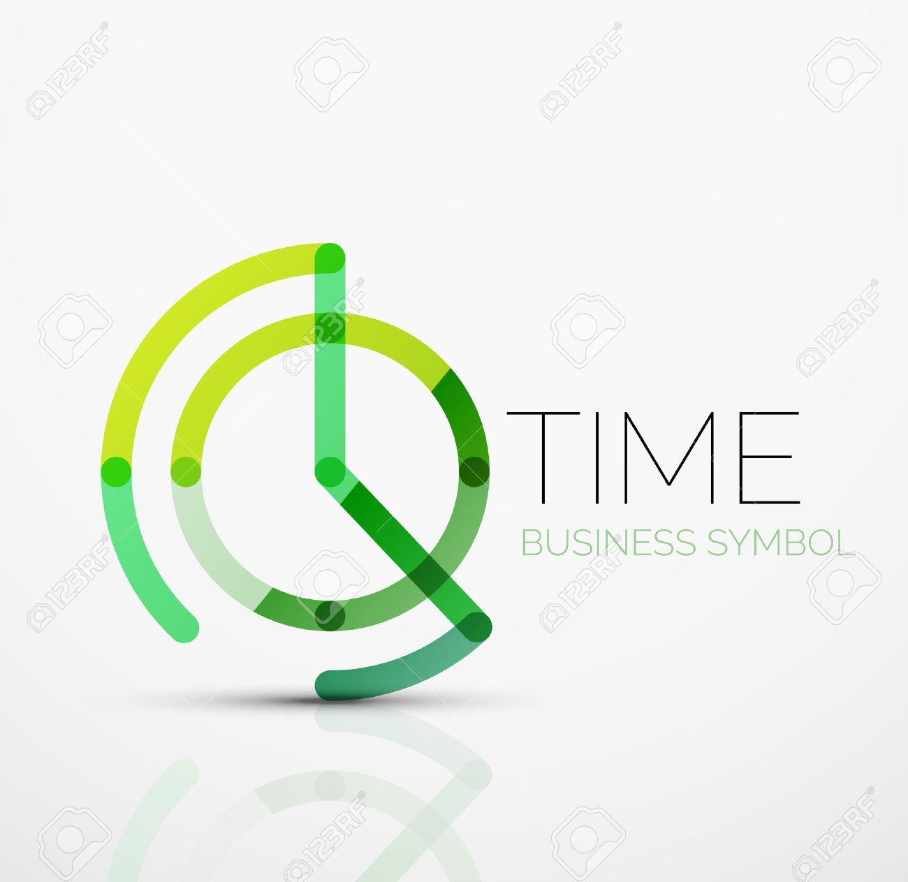 Vector abstract logo idea, time concept or clock business icon. Creative logotype design template made of overlapping multicolored line segments Stock Vector - 51787804