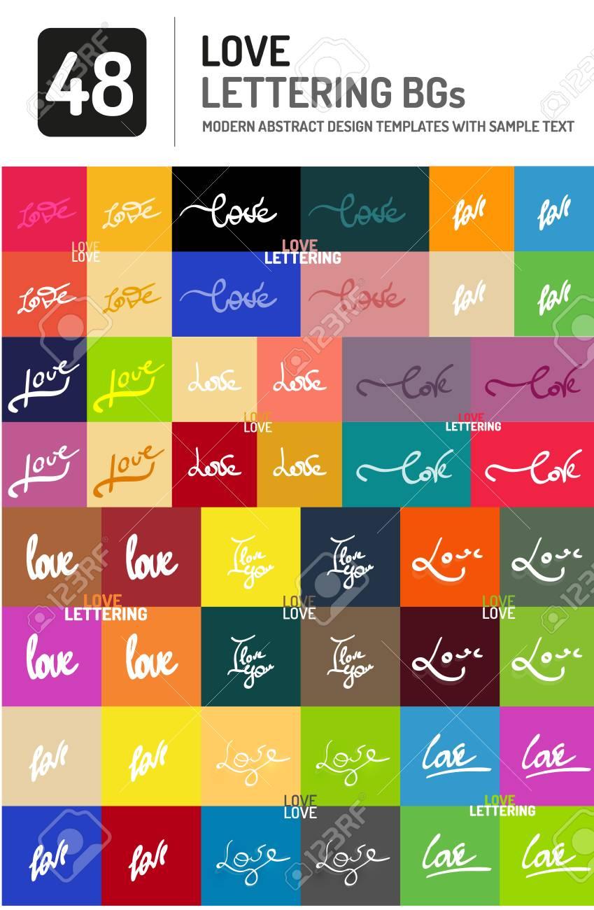 Set Of Vector Love Word Lettering Design Stock Vector