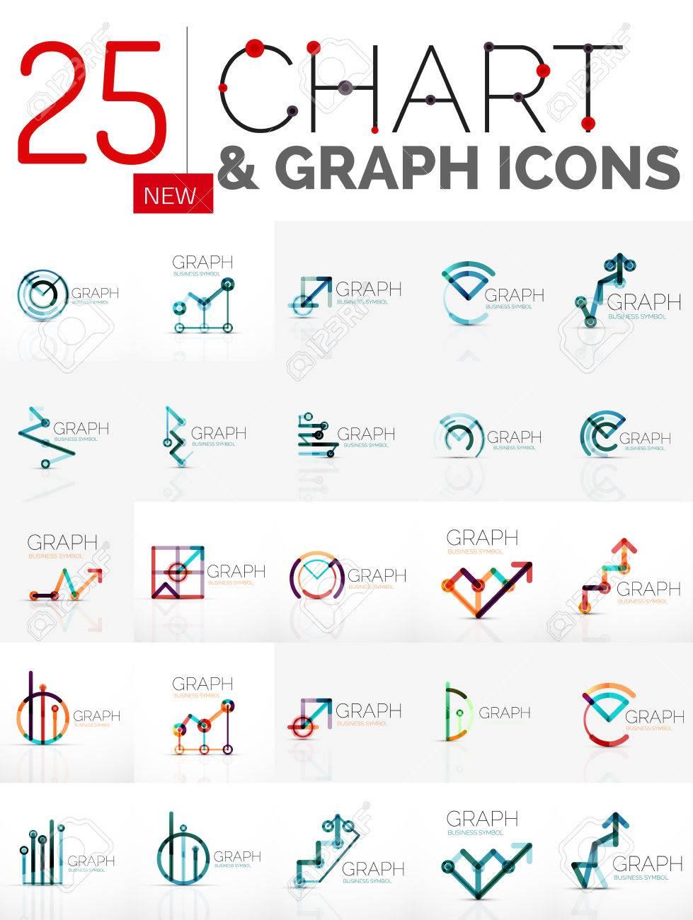 Collection de logos abstraits linéaires - tableau et graphique icônes -  symboles géométriques propres  Growing stats concepts de la finance, des