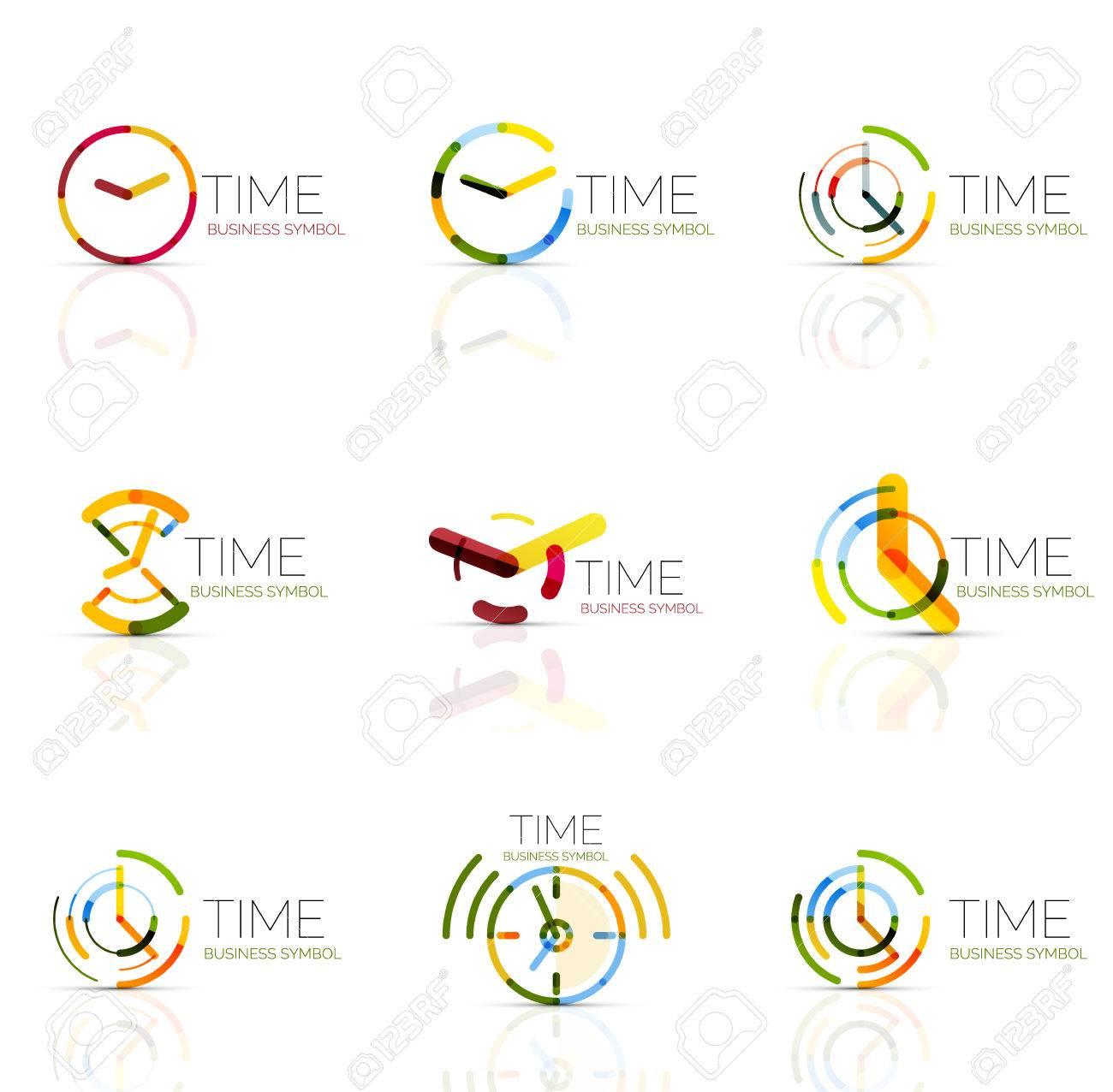 b5cd7a63043e Foto de archivo - Reloj geométrica y el icono de logo tiempo. delgada línea  símbolos o logotipos estilo plana geométricas. la gestión del tiempo de  negocios ...