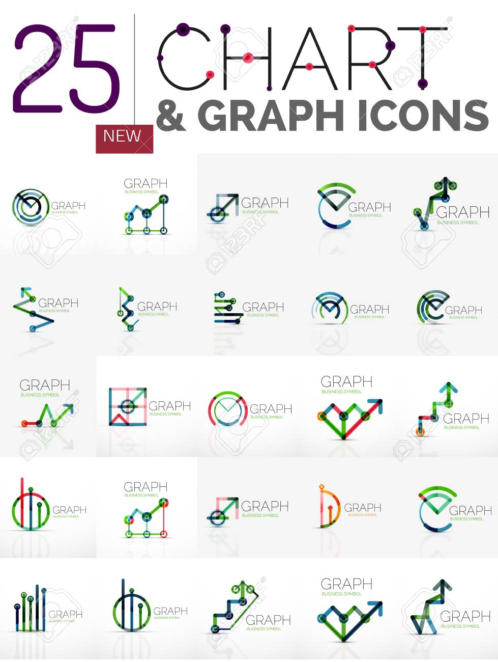 Collection Of Linear Abstract Logos Chart And Graph Icons