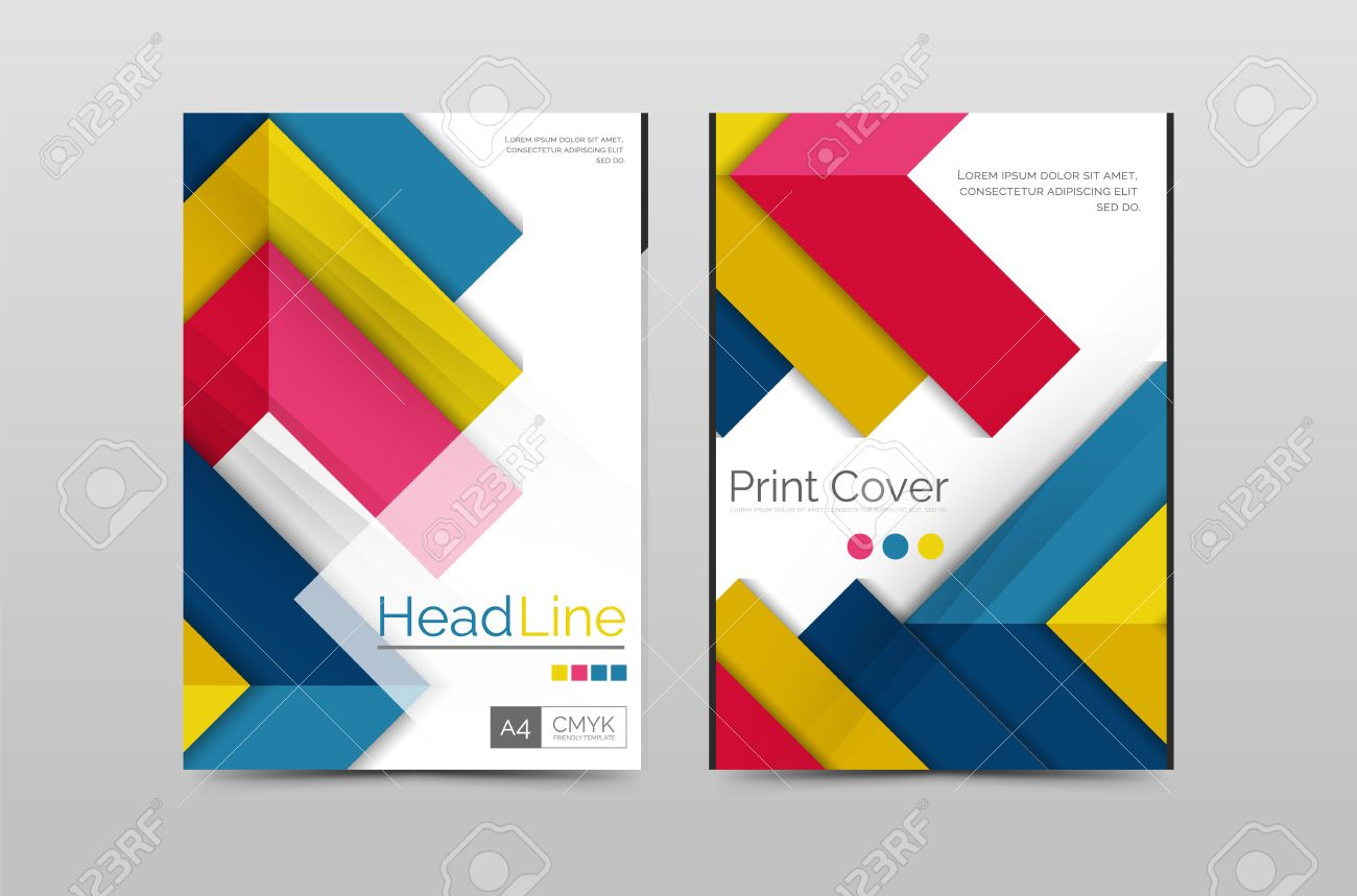 Geometric Brochure Front Page, Business Annual Report Cover Vector Template,  A4 Size Poster Stock  Annual Report Cover Page Template