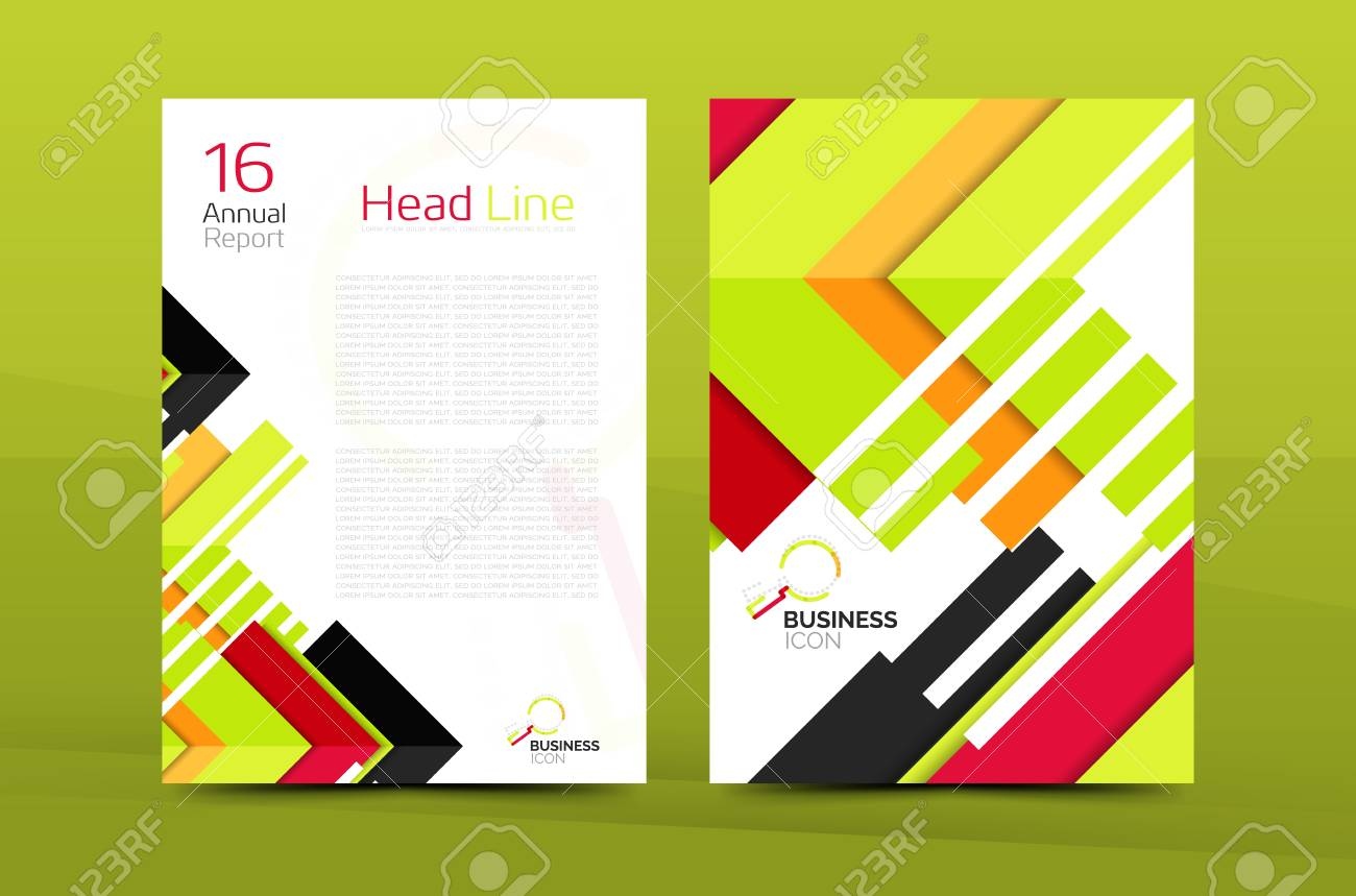 Clean geometric design annual report cover, leaflet business
