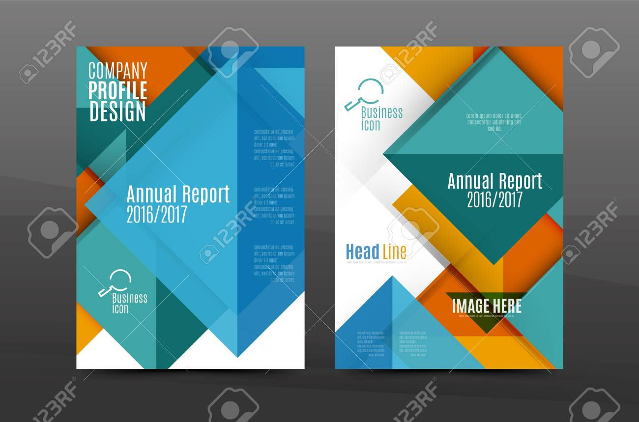 Squares And Triangles Annual Report Cover Template Color Business