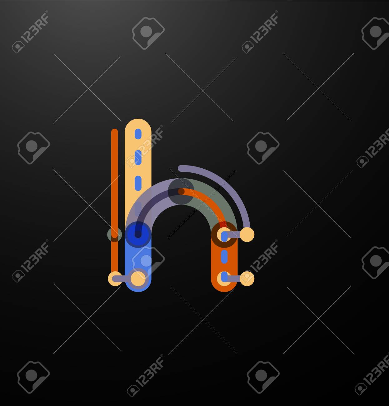 Company Branding Initial Letters On Black. Flat Cartoon Industrial ...