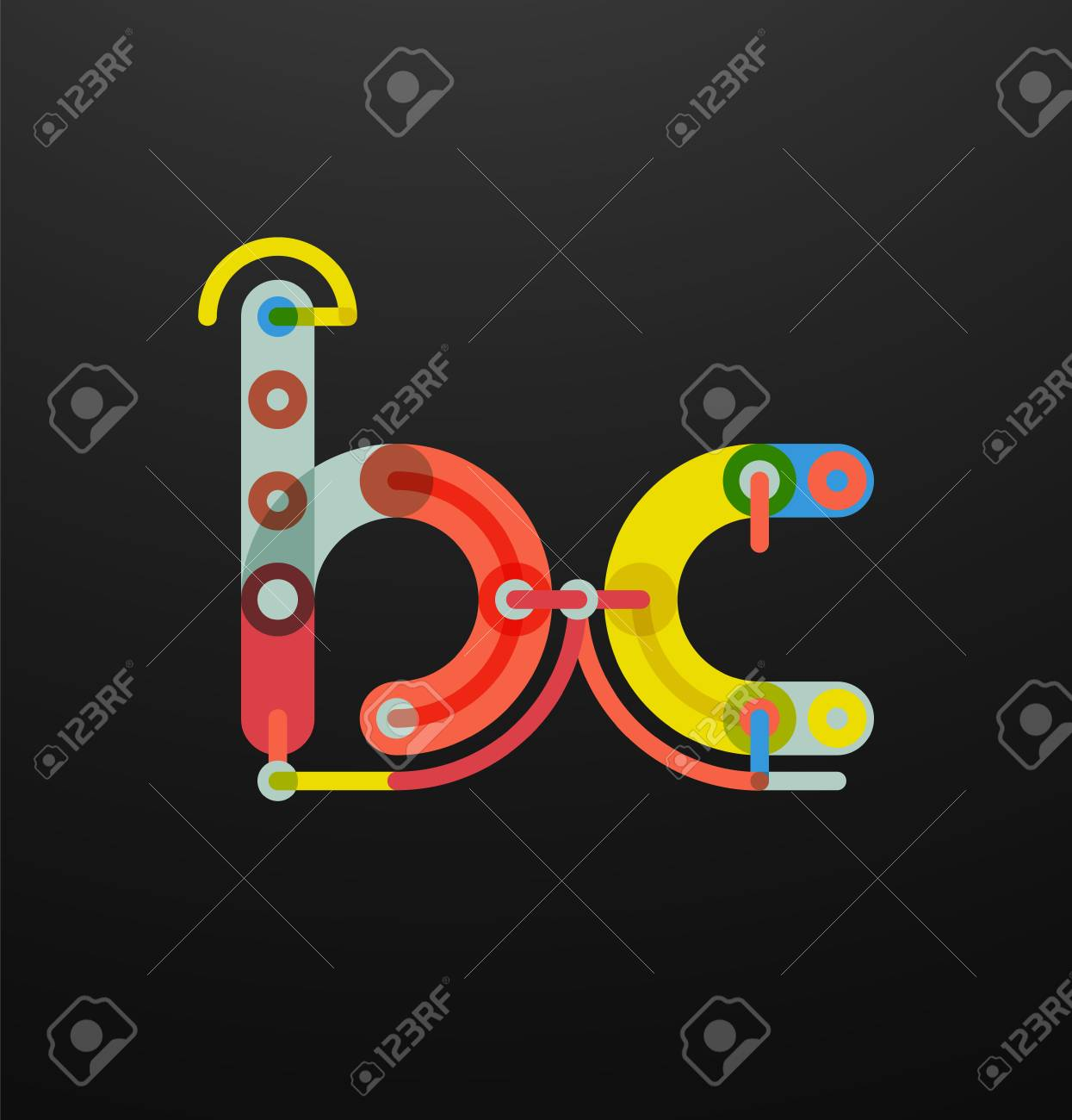 Company Branding Of Initial Letters On Black. Flat Cartoon ...