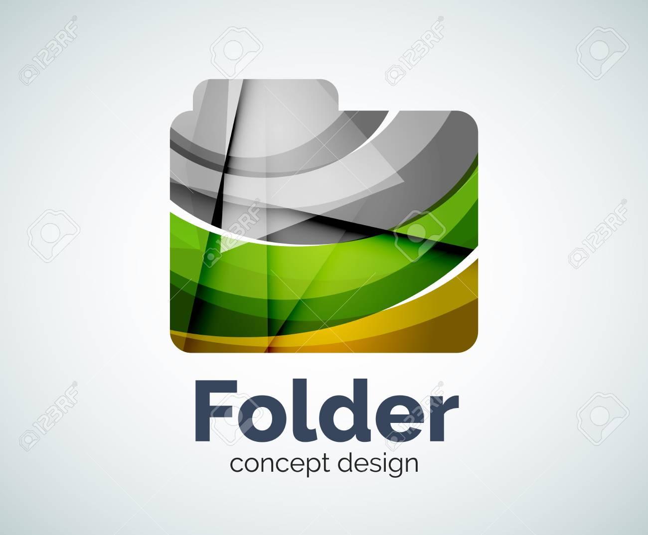 Computer-Ordner Vorlage, Abstrakte Elegant Glänzend Business Icon ...