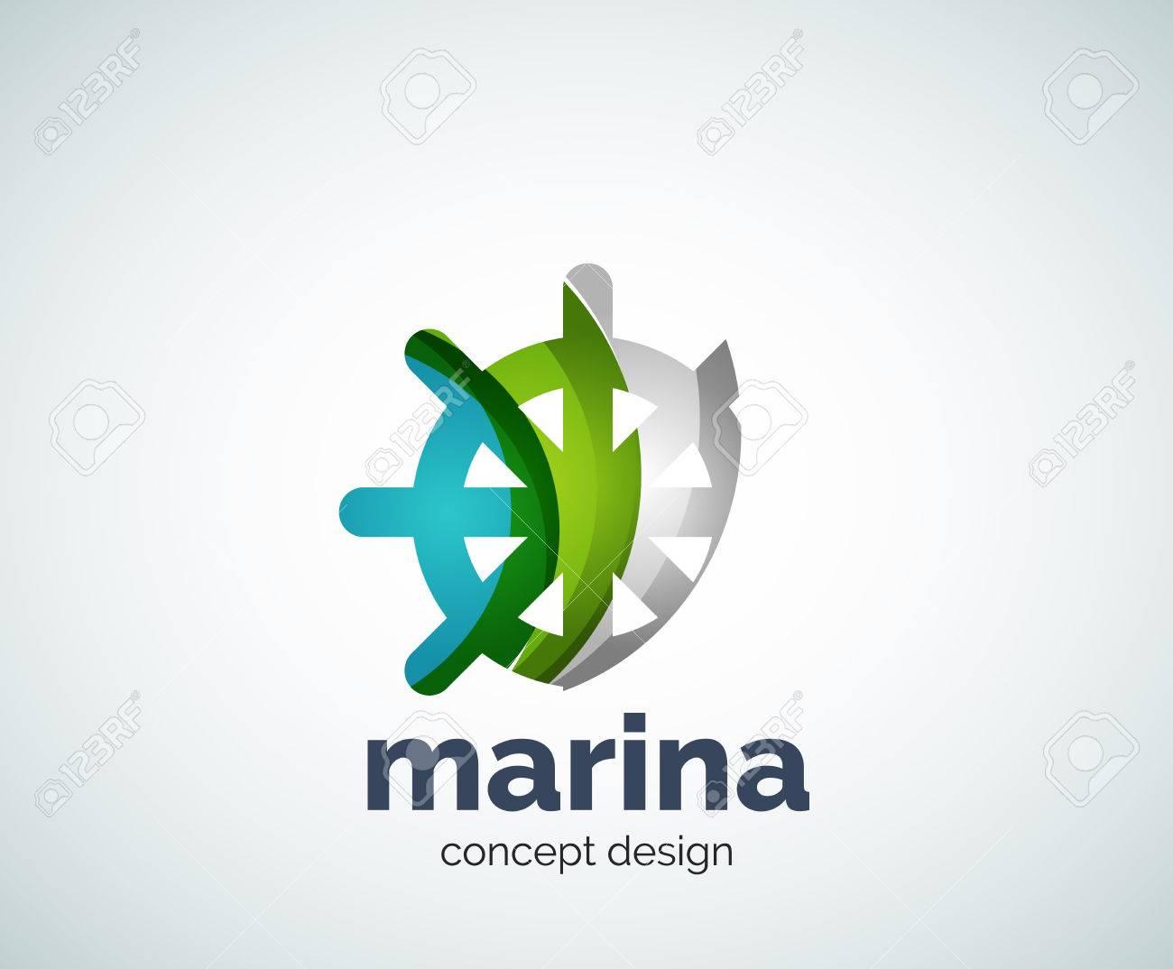 Marina Vector, Logotipo De La Plantilla De Dirección De La Rueda ...