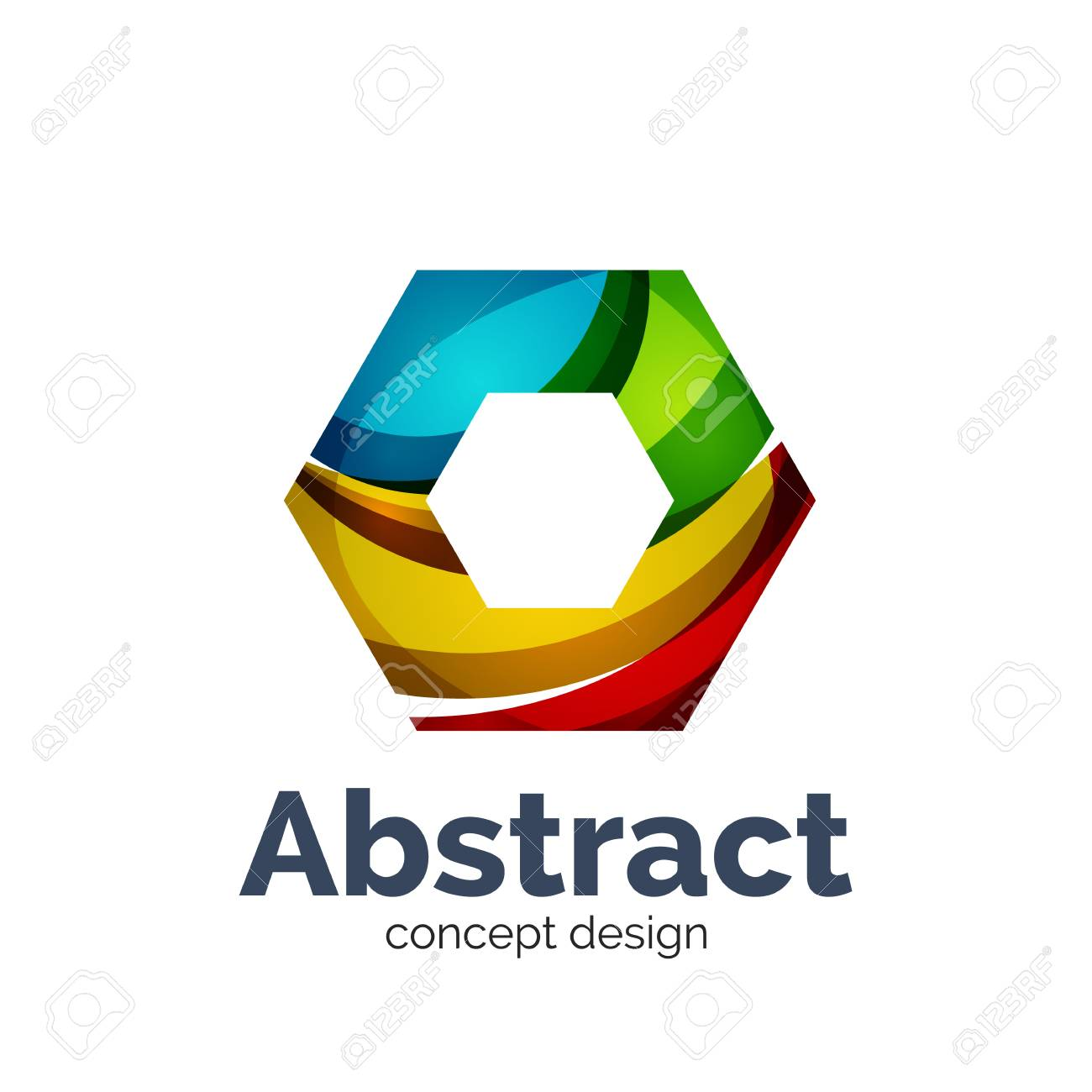 unusual abstract business vector logo template hexagon royalty