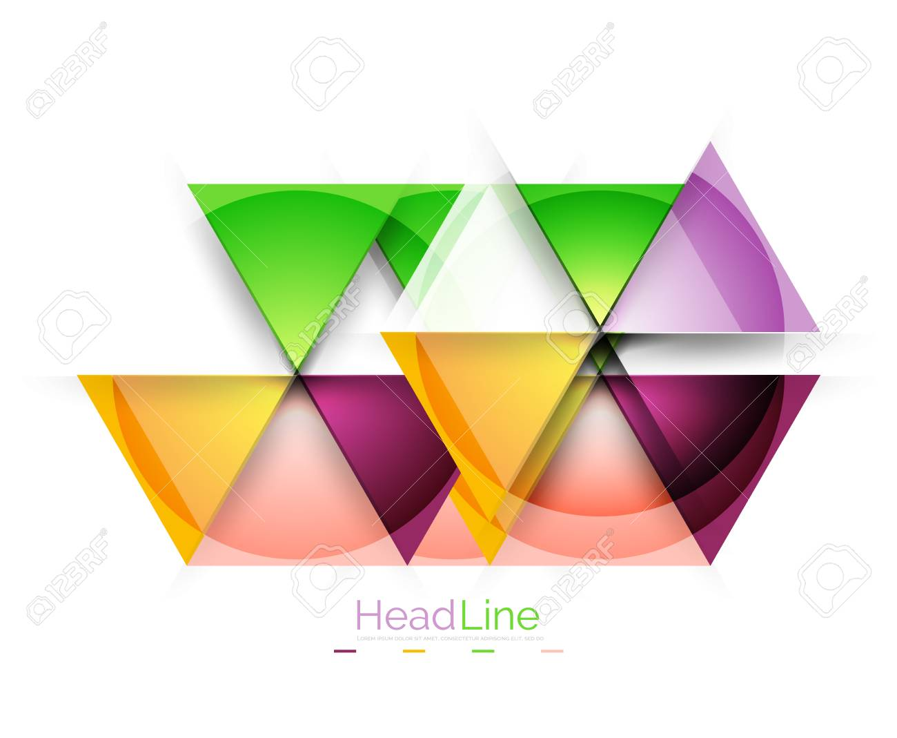colorful triangles on white background modern geometric banner