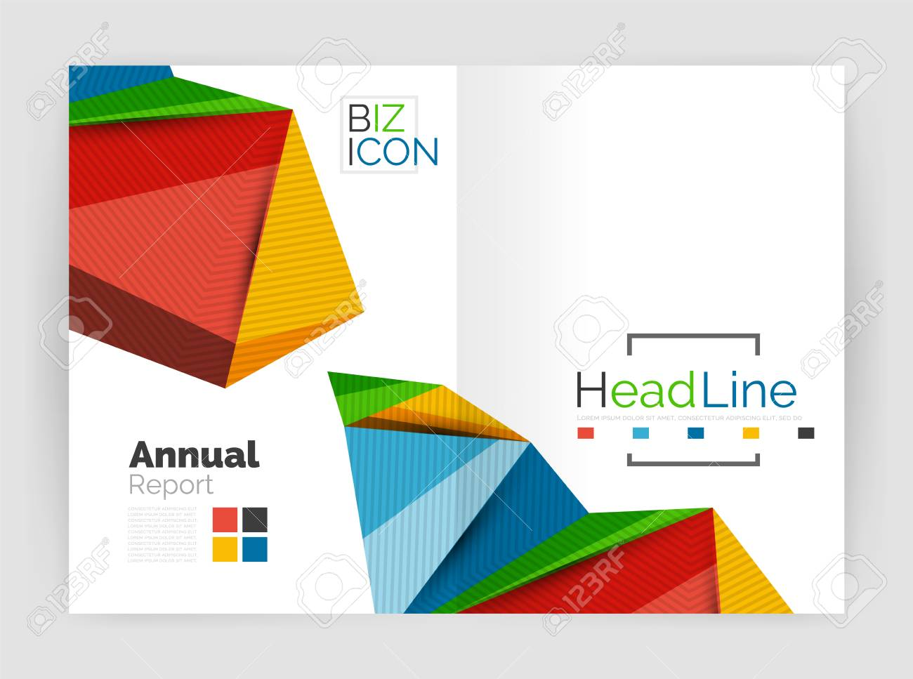 3d Low Poly Shapes Design For Business Brochure Template Vector
