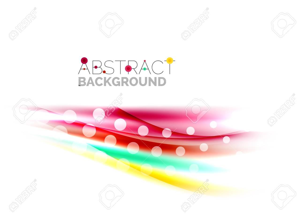 Farbe Wellenlinien Mit Glänzend Lichteffekten. Zusammenfassung ...