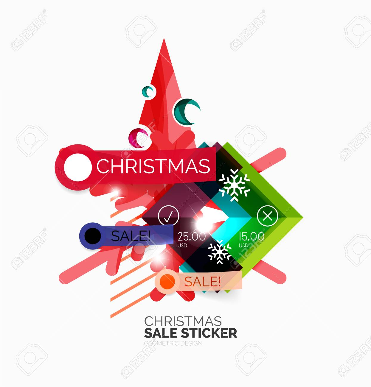 shiny holiday new year and christmas sale banners vector promotional and info templates stock vector