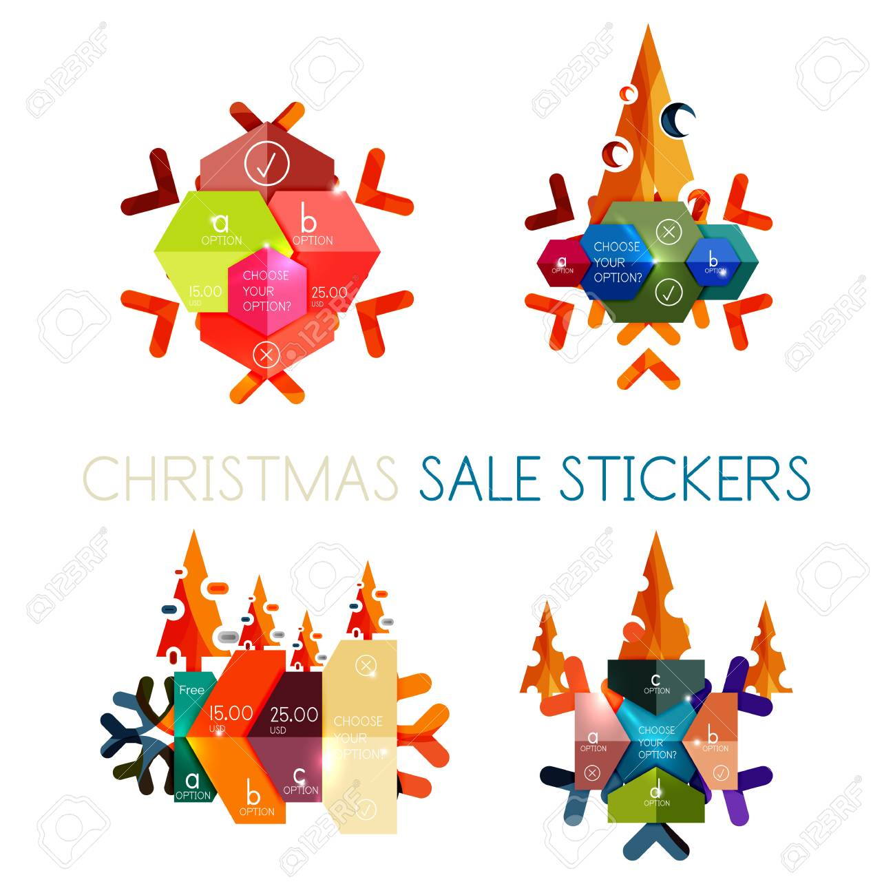 Modern Paper Christmas Stickers, New Year Infographic Sale Banner ...