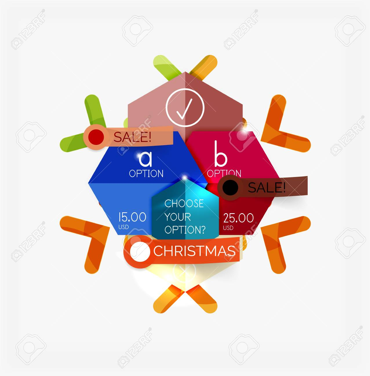 paper new year and christmas labels and stickers modern info