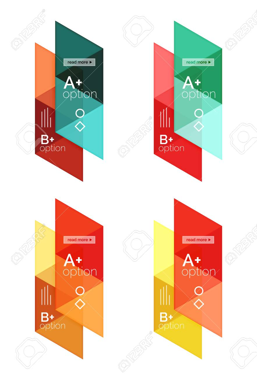 Vector Set Of Colorful Geometric Infographics For Workflow Layout ...