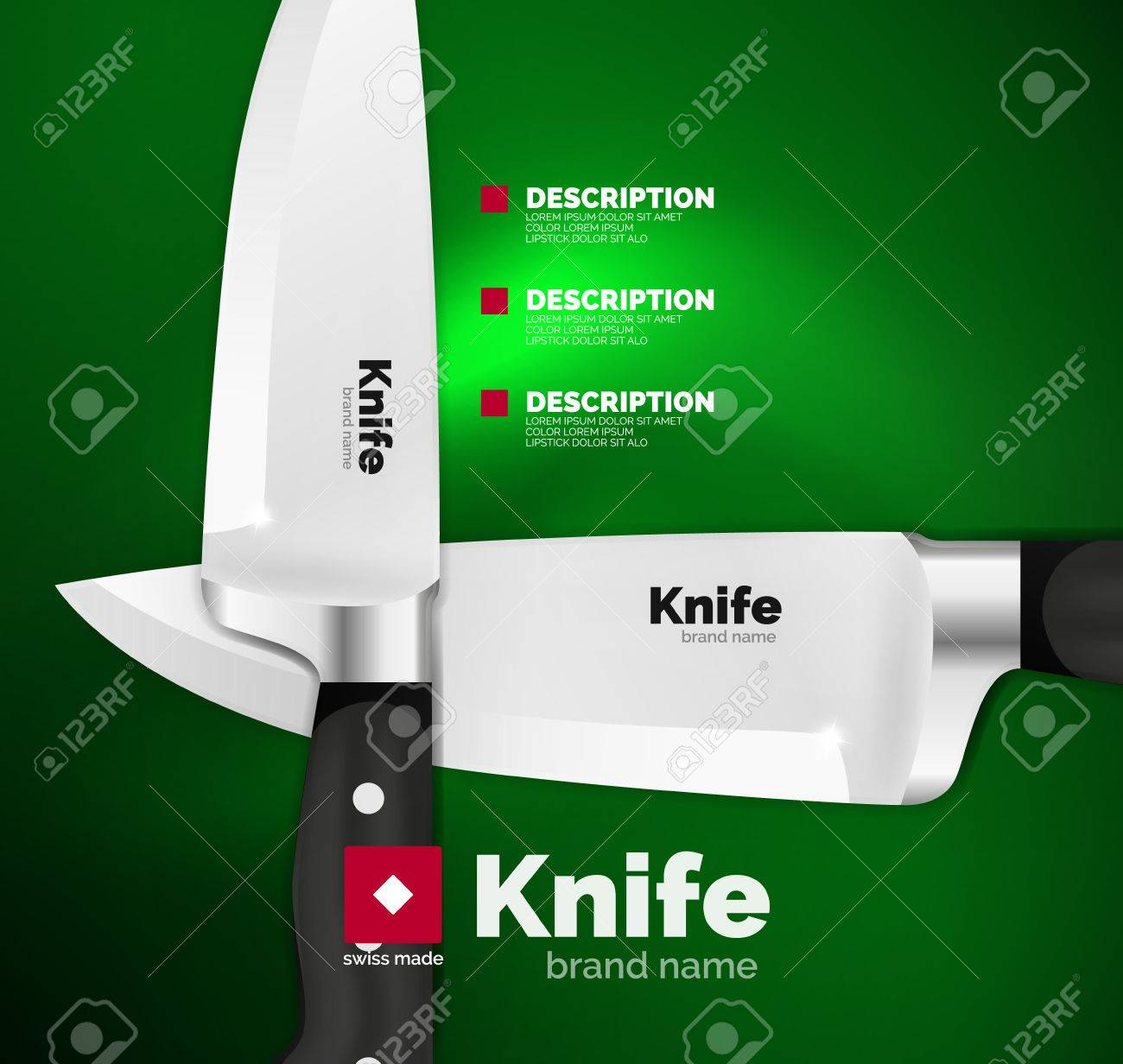 vector swiss made knife ad template royalty free cliparts vectors