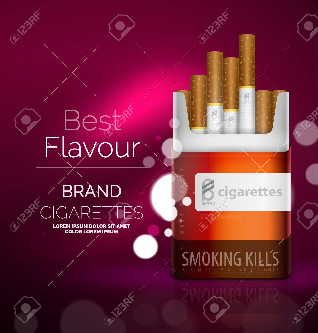 vector premium cigarettes pack ad template royalty free cliparts