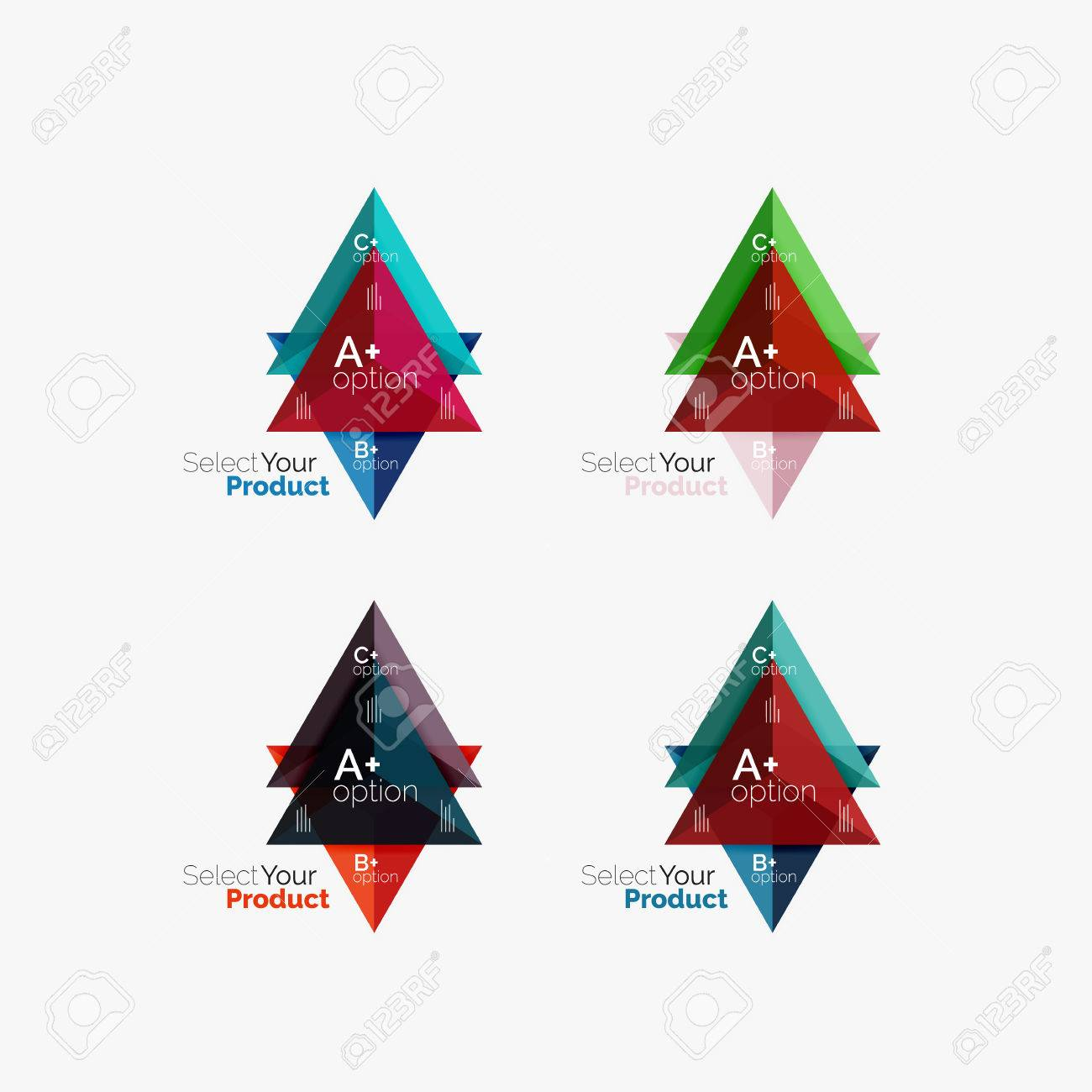 Set Of Triangle Geometric Business Infographic Templates Royalty ...