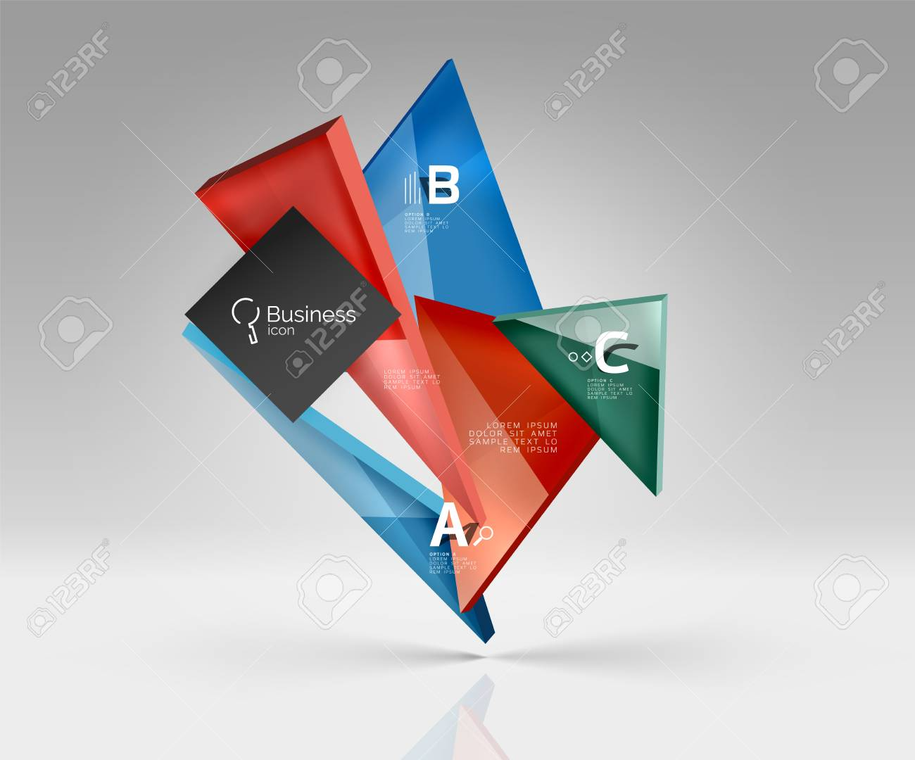 blank triangle layout business template infographic background