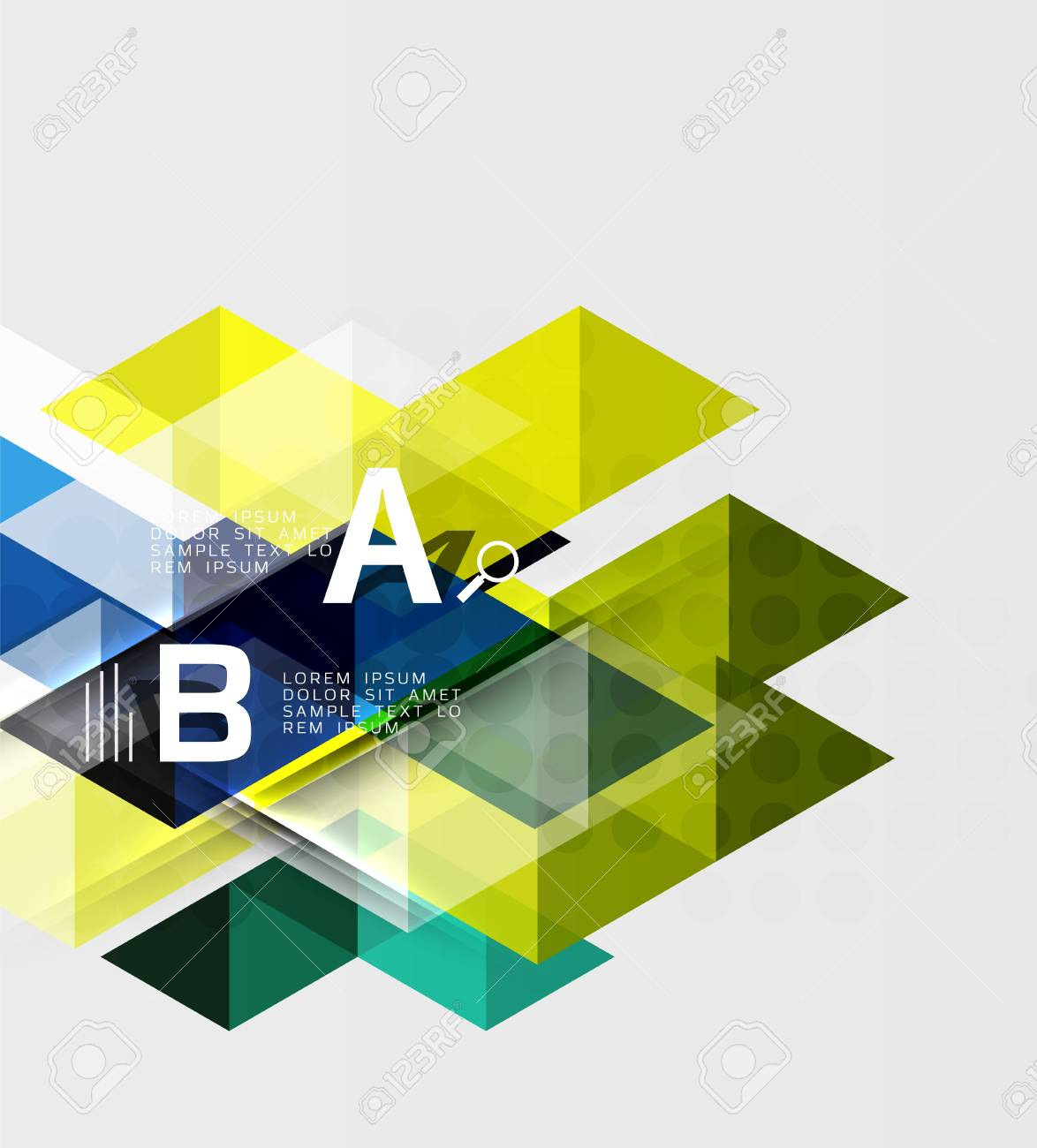transparent triangle tiles banner vector template background for workflow layout diagram number options
