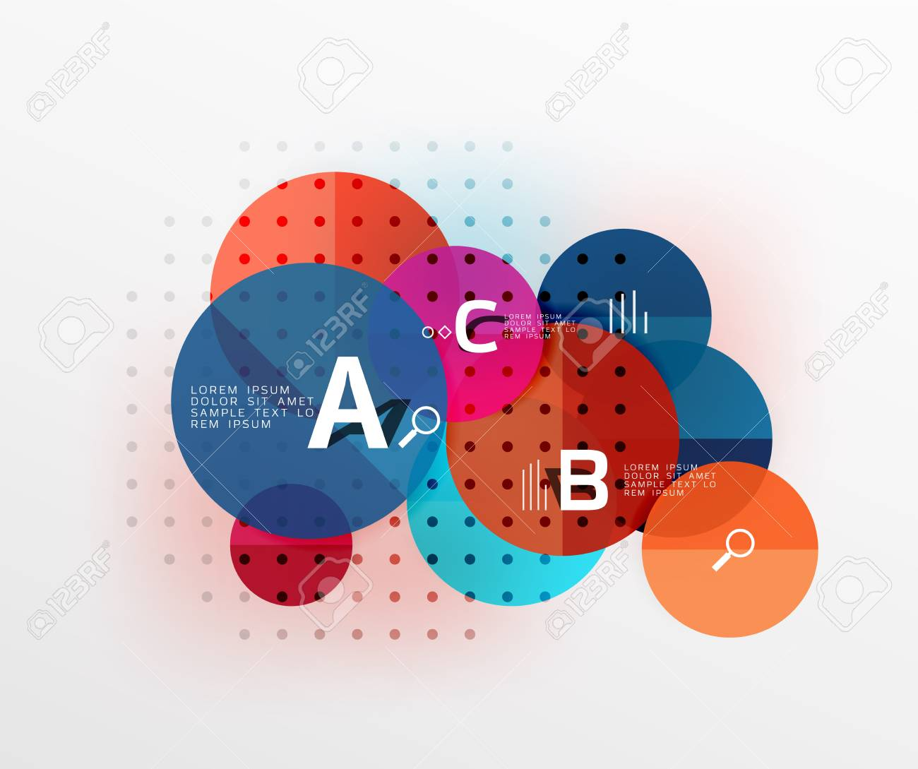 Colorful Glossy Circle Infographics. Vector Template Background ...