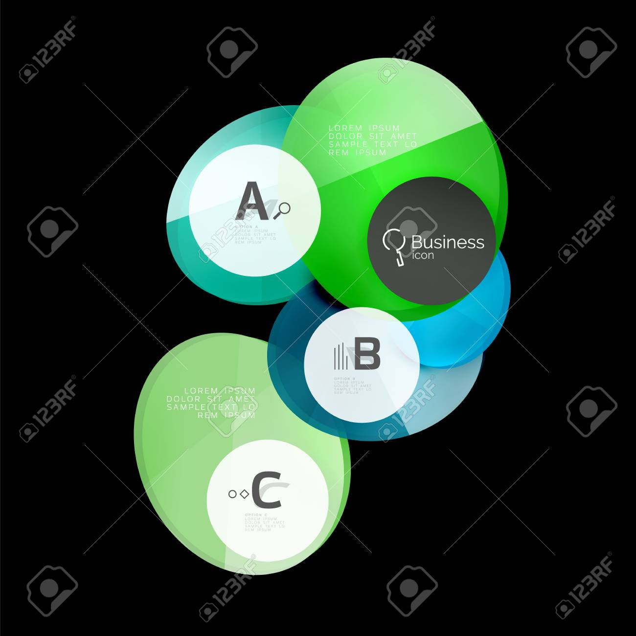 Vector Glossy Glass Color Circles Speech Bubble On Black. Vector ...