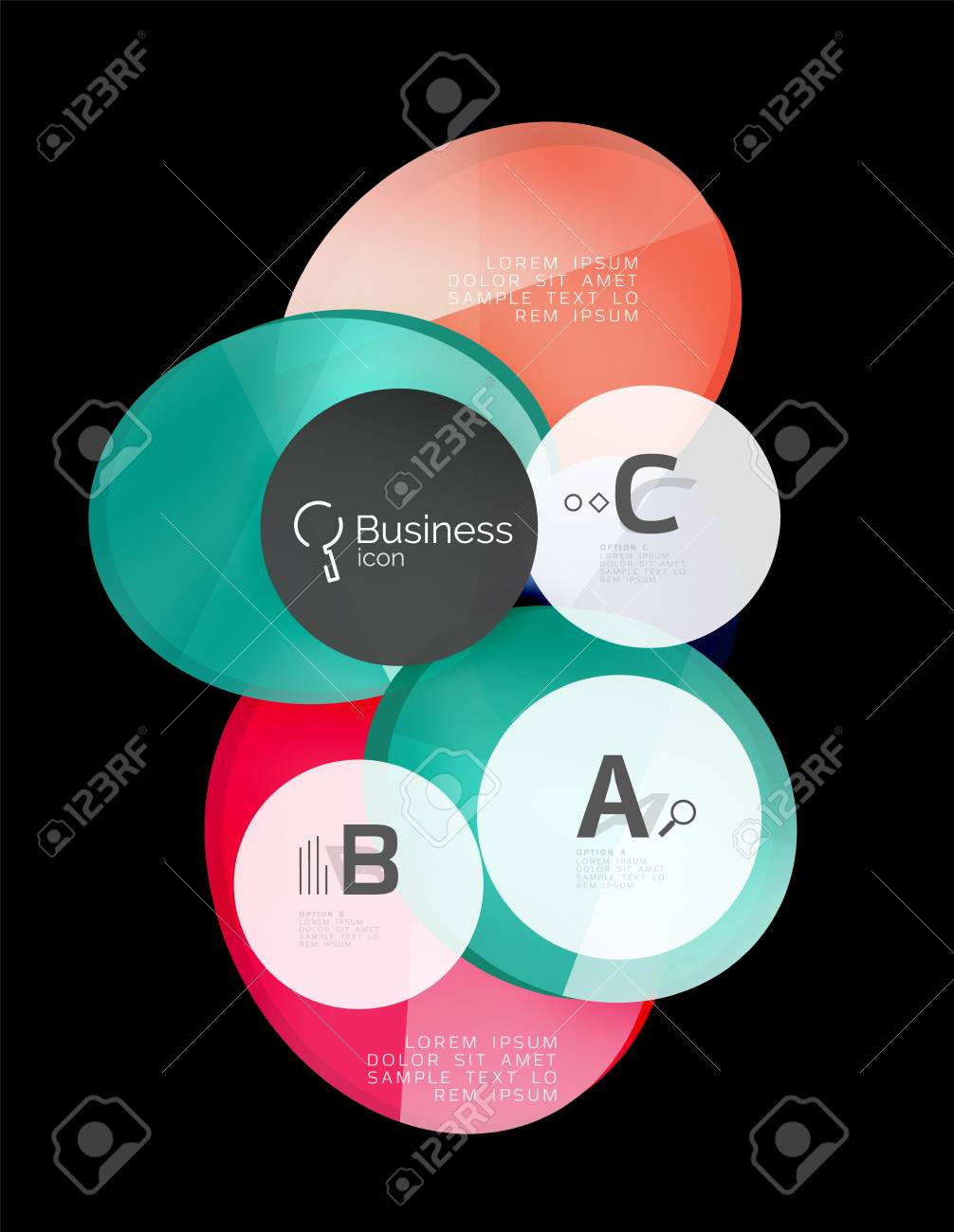 Glass Color Circles - Infographic Elements On Black, Abstract ...