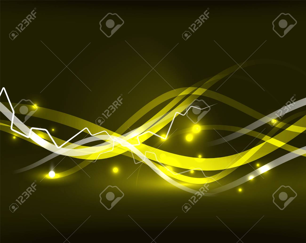 glowing wavy lines template color lightning concept in the dark