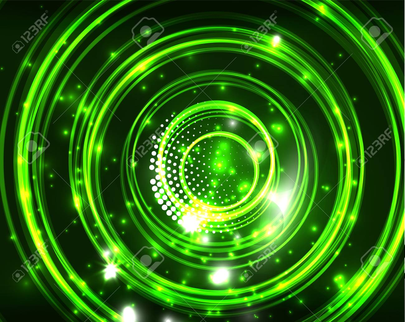 Neon Green Circles Vector Abstract Pattern Background