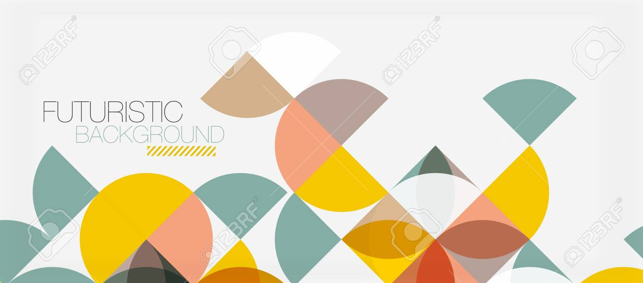 Geometric triangle and circle shape, wide abstract background. Vector modern minimalistic business or technology wallpaper, backdrop for presentation or banner. - 91303102