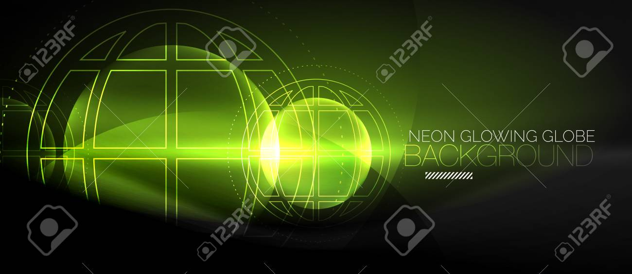 Techno Globe Concept Neon Glow Planet On Dark Abstract Color