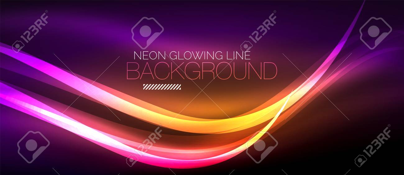 Neon purple elegant smooth wave lines digital abstract background - 95511349