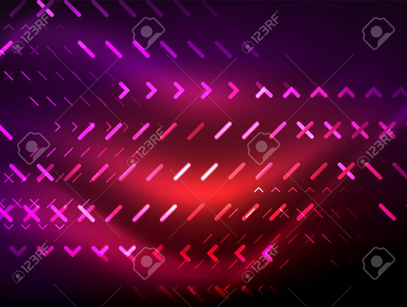 Futuristic Neon Lights On Dark Background Digital Abstract Techno