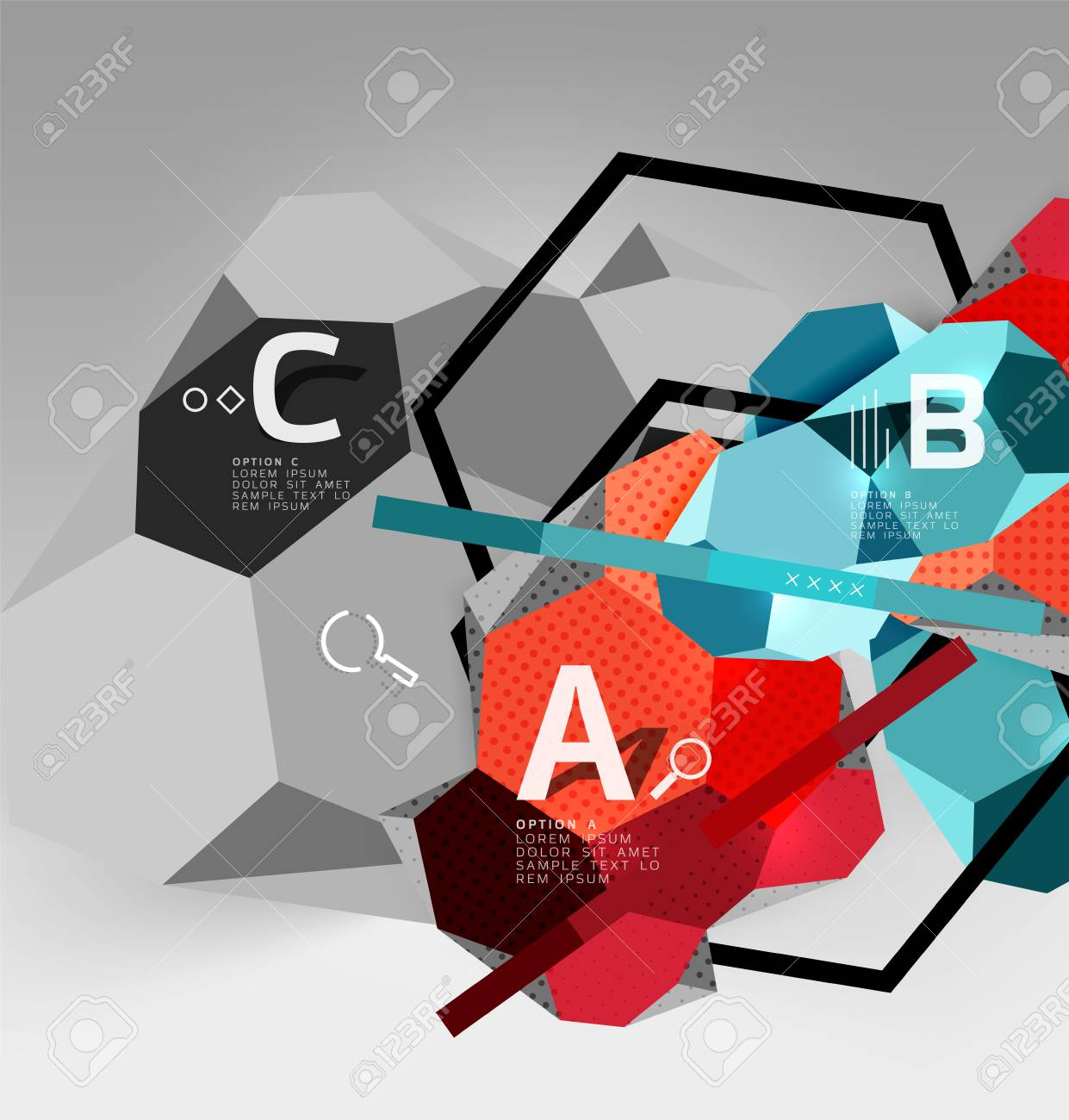 3d hexagon geometric composition geometric digital abstract