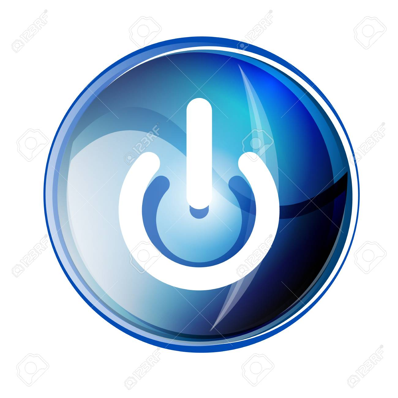 Power button blue icon, start symbol, vector illustration