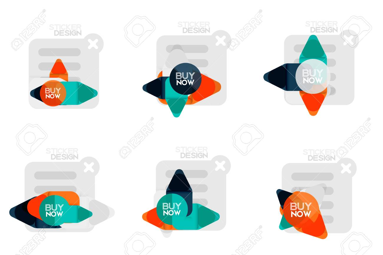 set of flat design geometric stickers and labels price tags