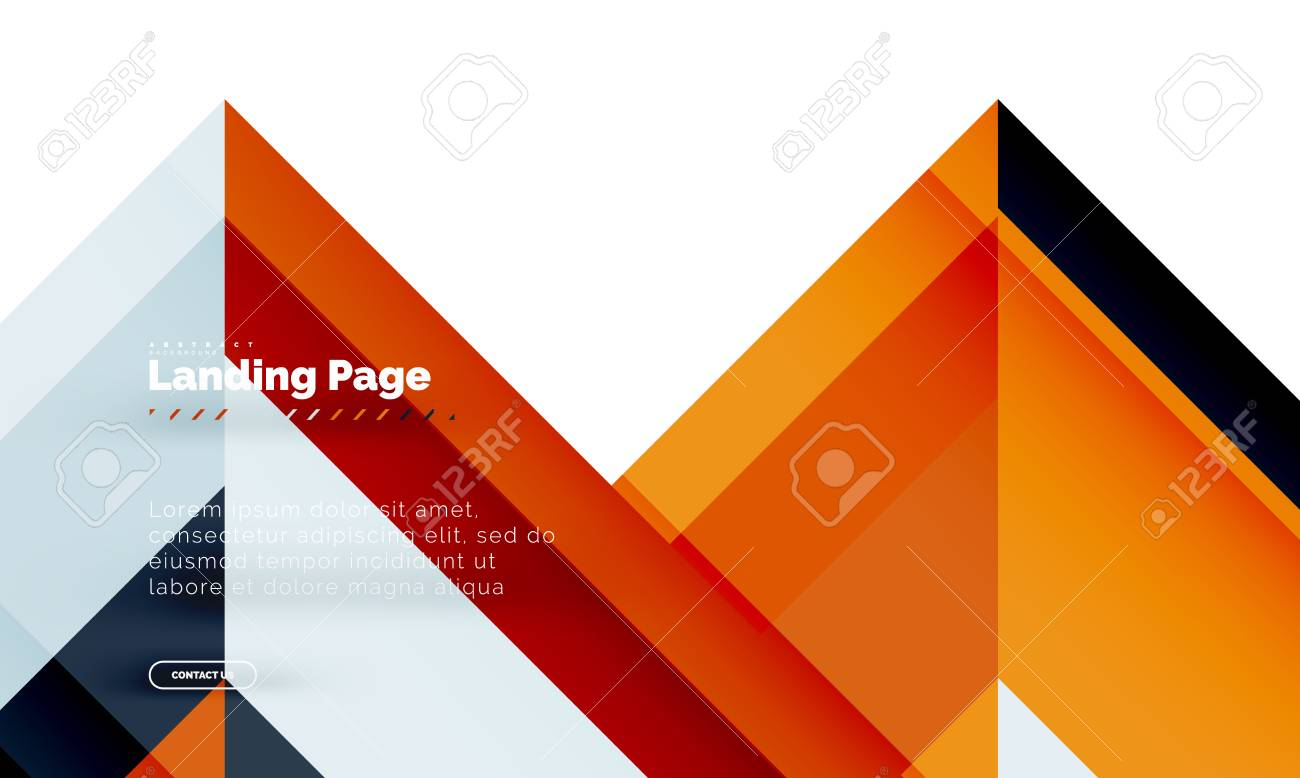 Square shape geometric abstract background, landing page web design template. Vector illustration - 112142007